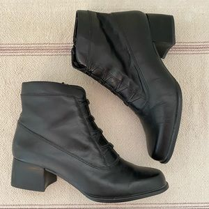 Vintage 90s Black Leather Ankle Boots Victorian